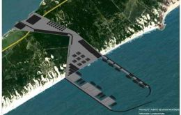 The sketch of the deepwater port to be built in La Angostura