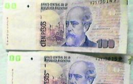 "The bill with San Martin and without the clipped ""1"" (Photo: Clarin)"
