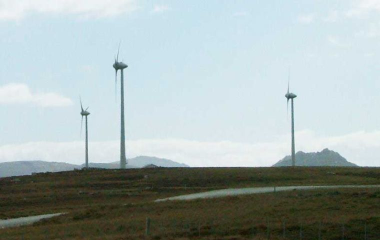 At peaks up to 40% of Stanley energy comes from wind turbines