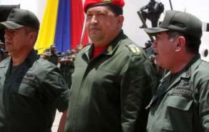 The Venezuelan president at the military ceremony