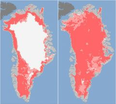 The thawed ice area jumped from 40% to 97% of the ice sheet in four days
