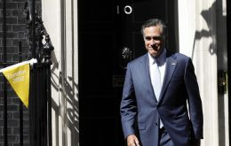 Romney leaving 10 Downing Street, helped organize the 2002 winter Olympics in Salt Lake City