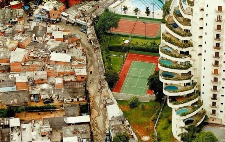 The 'favelas' or shanty towns that surround most Brazilian cities