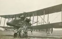 A photograph is of the FE2d aircraft named Falkland, a two-seat Pusher aircraft operated as a fighter by the Royal Flying Corps during the First World War
