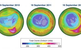Total ozone maps for 16 September  2010, 2011 and 2012 based on data from GOME-2 on board the MetOp-A satellite. The data are processed and mapped at the Royal Netherlands Meteorological Institute (KN