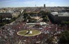 Demonstrators from all over Spain filled the centric Plaza Colon and surrounding streets