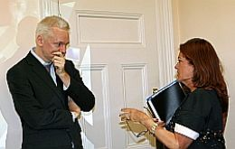 Argentine ambassador in London Alicia Castro visited Assange and expressed support