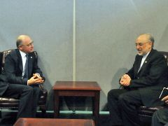 Minister Timerman with his Iranian peer Ali Akbar Salehi