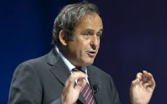 UEFA president Michel Platini during the announcement in St Petersburg