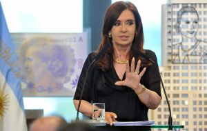 """We are going to pay and with dollars because we have them"" pledged CFK  (Photo: TELAM)"