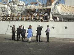 "Ghana Ports and Harbours Authority (GPHA) officials trying to speak with ARA Libertad Captain (Photo ""The Chronicle"" )"