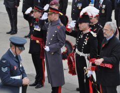 From left. Brigadier Bill Aldridge (Commander BFFI), HRH The Duke of Kent, representing HM the Queen, HE the Governor Mr. Nigel Haywood CVO., The Hon. Barry Elsby Member of the Legislative Assembly
