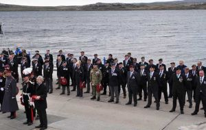 50 British veterans of the Falklands war parading at the 1982 Liberation Memorial in the presence of HRH The Duke of Kent, who was representing Her Majesty the Queen.