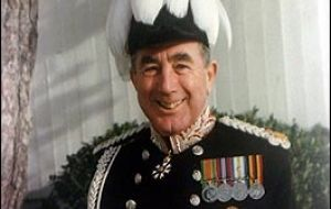The loyal friend of the Falklands with his governor's plumed hat