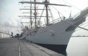 The frigate remains in pier 11 at Tema