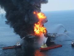 The BP Deepwater Horizon oil rig ablaze. Image: U.S. Coast Guard.