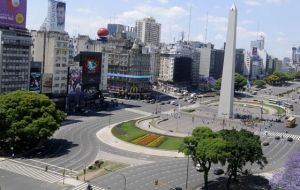 A rare view of downtown Buenos Aires by the Obelisk virtually deserted
