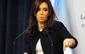 Cristina Fernandez repeating she would not succumb to the 'vulture funds'