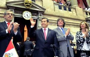 Humala addressing Congress in Buenos Aires  (Photo: Telam)