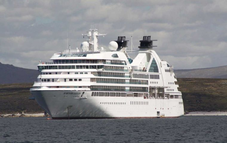 "The ""Seabourn Sojourn"" anchored in Port William on a blue sky Friday (Pic Alan Henry)"