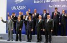 Family picture of presidents and representatives at the Unasur summit in Lima
