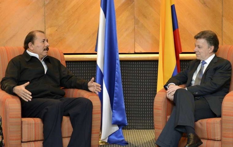 President Ortega and his counterpart Santos in Mexico