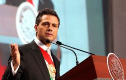 Peña Nieto addressing the nation on his taking office speech