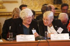 Falkland's MLA's Hon. Jan Cheek and Hon. Sharon Halford during the BOT meeting. (Photo: FCO)