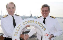 Vice Admiral Jones and Admiral Zambellas (left) during the handover ceremony (Photo_MoD)