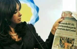 President Cristina Fernandez obsessed with 'democratizing' media and dismembering the Clarin Group