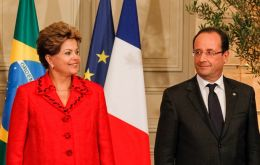 The Brazilian president and his peer Hollande had to take time to talk about the allegations during a press conference