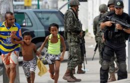 Police forces on patrol in the shanty towns that surround all major Brazilian cities