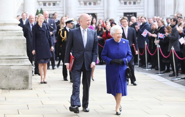 William Hague and HM Queen Elizabeth arrive at the Foreign Office