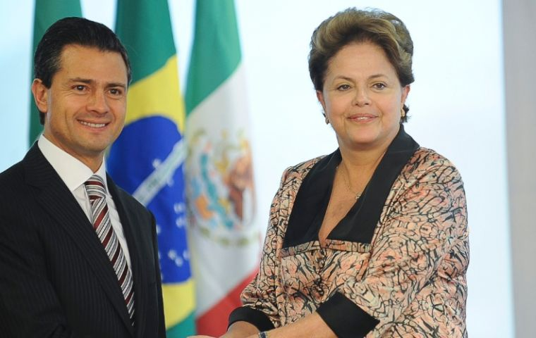 Peña Nieto and Rousseff when they met in Brasilia last September