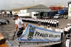 Sailors boarding ARA Libertad, frigate  is expected to arrive in Mar del Plata on January 9th.
