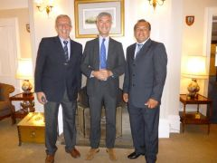 Toto da Silveira, Governor Nigel Haywood and Ruben Sosa at Government House reception