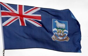 The Falkland Islands flag and crest