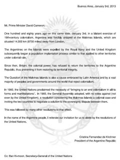 Copy of the letter from the President of Argentina, Cristina Fernandez to Prime Minister David Cameron