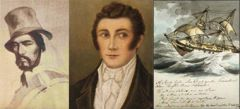 Gaucho Antonio Rivero, Louis Vernet and Captain Onslow of HMS Clio