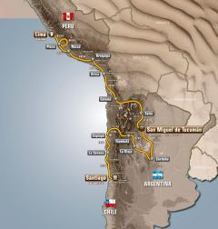This year's edition of the Dakar rally covers 8.574 kilometres and three countries: Peru, Chile and Argentina
