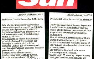 The page in Spanish and English published Friday in the Buenos Aires Herald