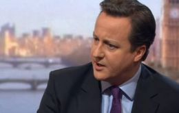 Cameron also said he hopes Cristina Fernandez will listen to the Falklands' March referendum (Photo BBCTv)