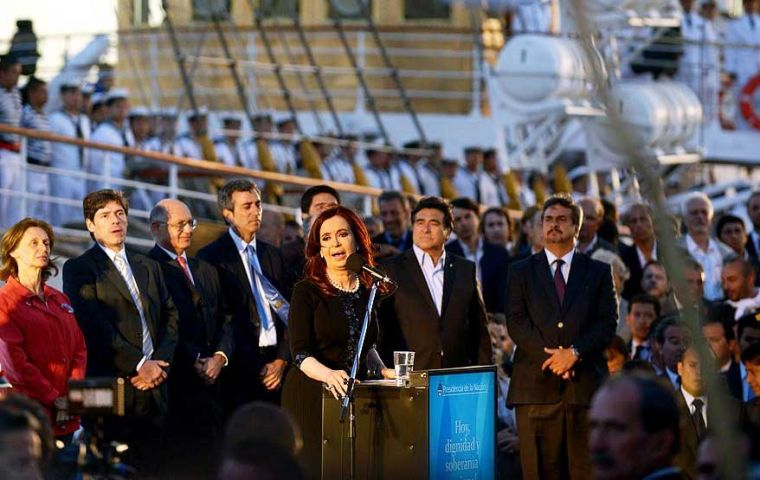 The Argentine president remembers the Falklands dispute in her first 2013 speech (Photo Telam)