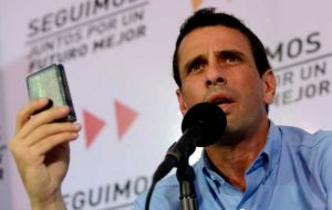 Capriles said he was disappointed with the Tribunal ruling because there should be no partisan interests in such delicate matters