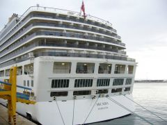 Arcadia, registered in Hamilton, Bahamas on around the world cruise will stop in Stanley