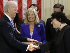 Vice-president Biden congratulated by Justice Sonia Sotomayor after the ceremony