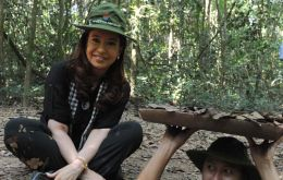 The Argentine president dressed in guerrila gear at the Cu Chi tunnels