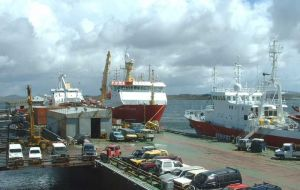 A busy day at FIPASS now shared by the fishing and oil industries
