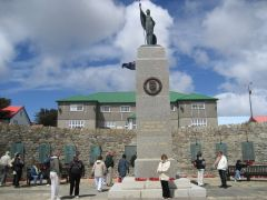Liberation Monument in Stanley which honours those fallen in the recovery of the Falklands 14 June 1982