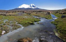 The Andes rocky bottom exposed as glaciers retreat